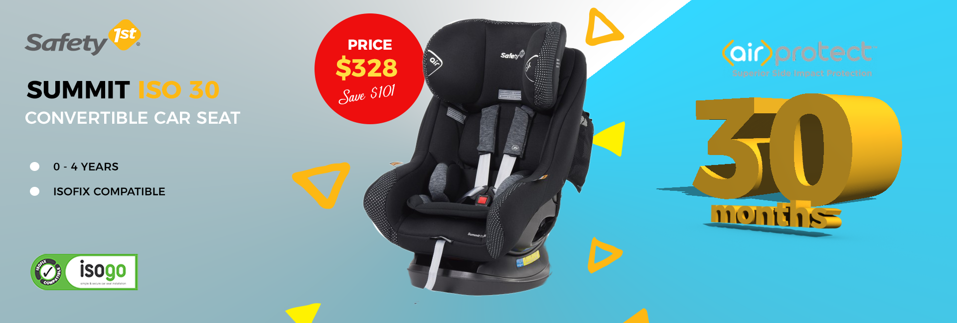 The Safety 1st Summit ISO 30 Convertible car seat features extended rearward facing up to 30 months or until the child's shoulders reach the upper height marker.