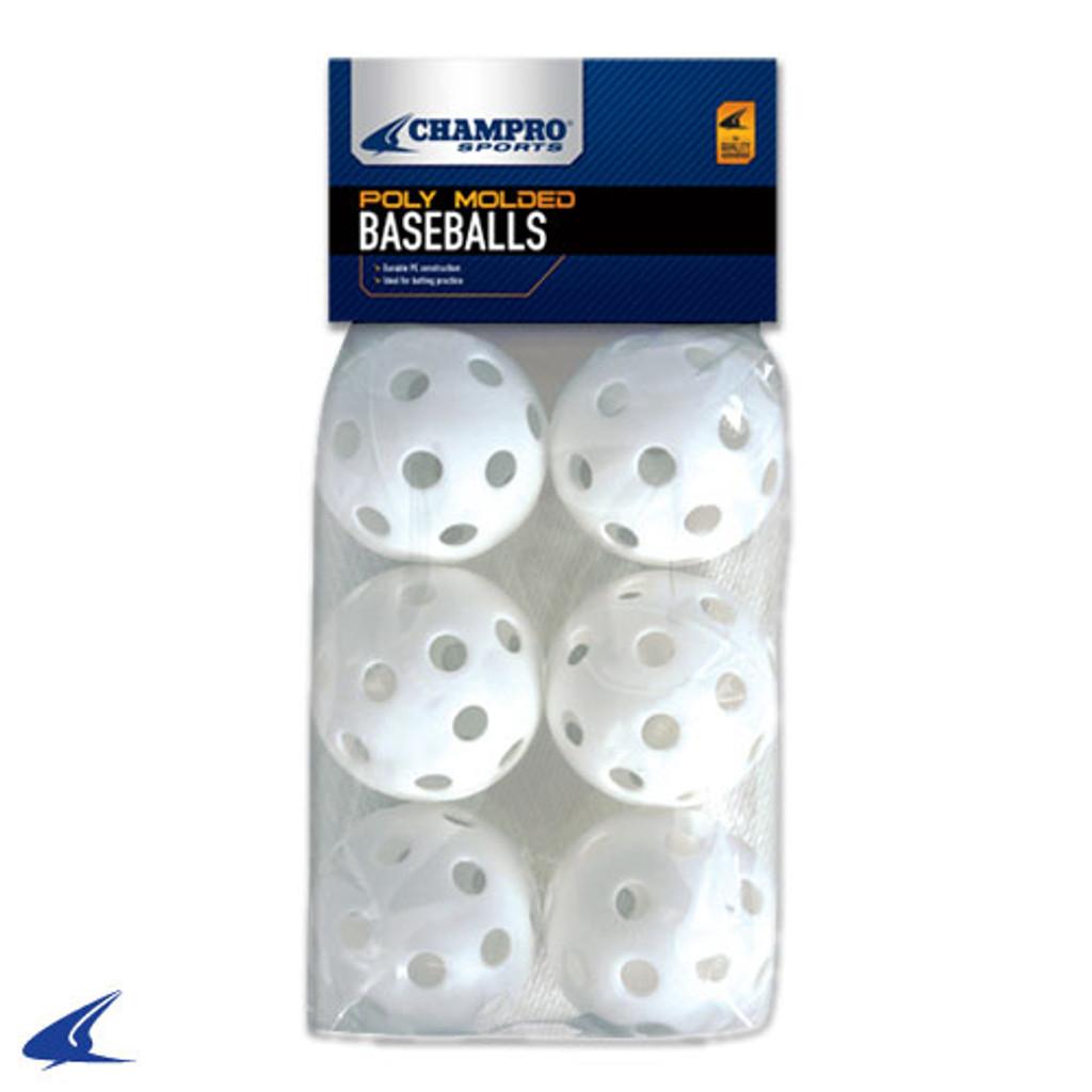 6 Pack of Baseball Wiffle Balls