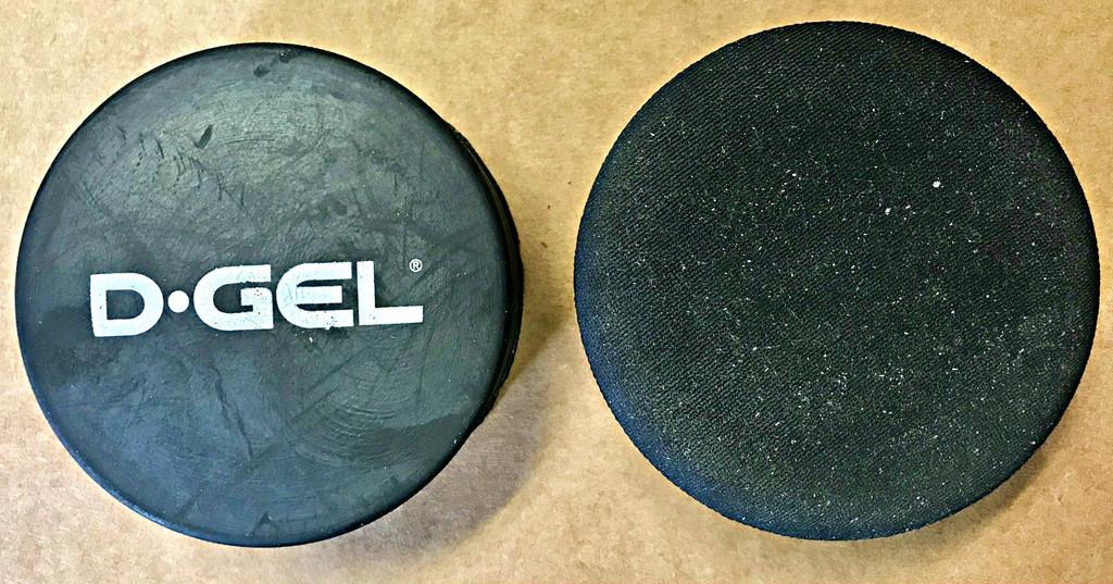D-Gel sponge puck compared to standard sponge puck.