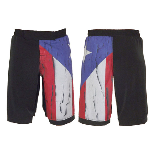 Puerto Rico Distressed Flag MMA Fight Shorts
