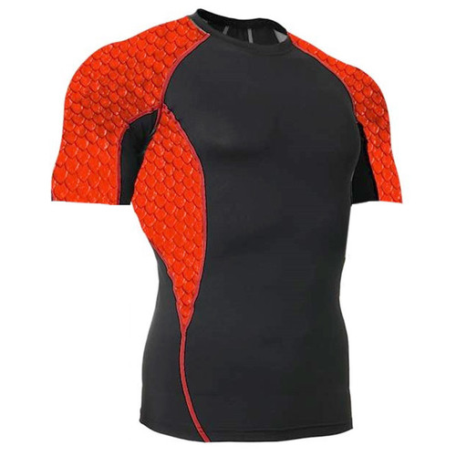 Side Panel Red Scales Rash Guard MMA Shirt