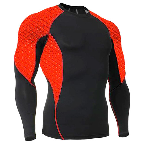 Red Scales Long Sleeve Rash Guard MMA Shirt