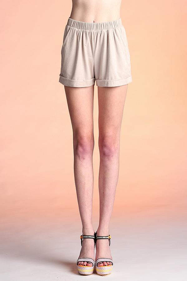 Suede Cuff Shorts P-2658