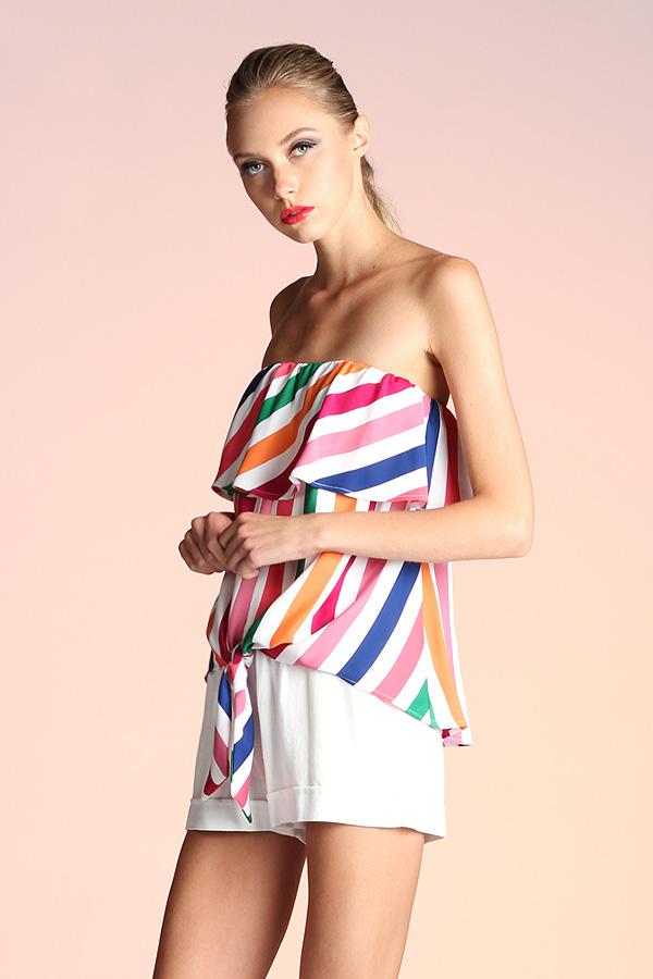Rainbow Stripe Strapless Tie Top T-3836