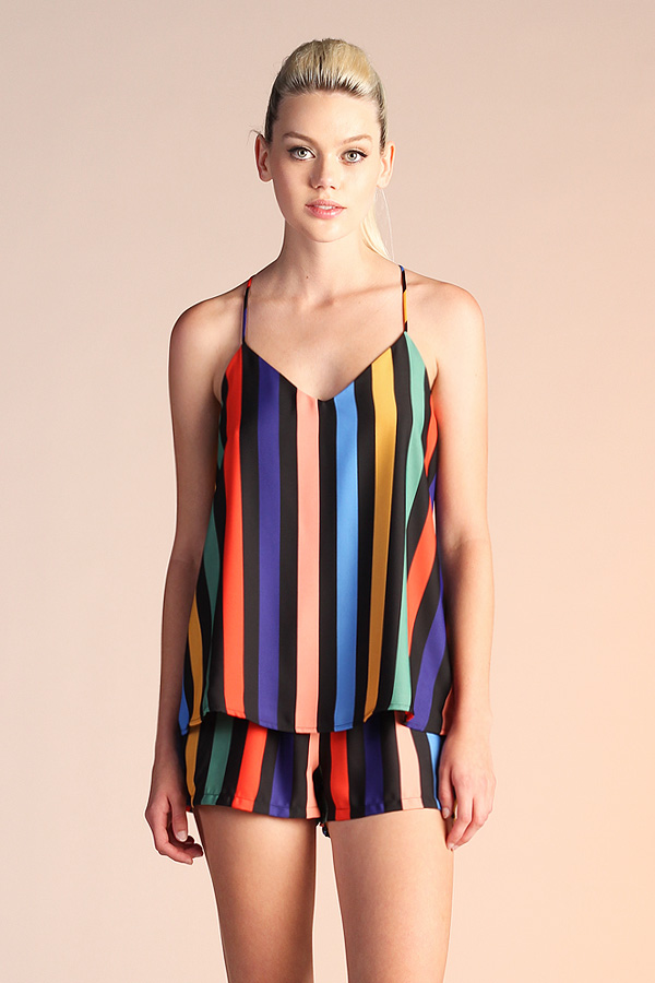 Black Rainbow Cami Top T-4167