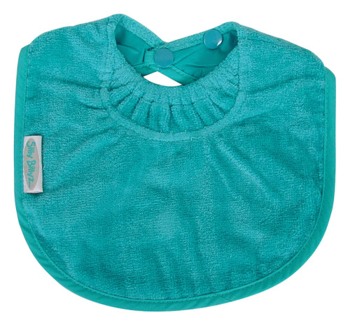 This nifty Biblet is sized just right to be your baby's first bib! The soft and absorbent towelling fabric will keep baby's sensitive skin dry, plus it protects those first sweet outfits. Made from Snuggly Towel with a water-resistant nylon backing, this range has the clever snuggle neck guard, which sits snug against your baby's neck to stop dribbles and spills -  perfect for bubs with eczema.  Small enough to leave on for extended periods of time. The triple snap closure lets you choose the size, so this handy newborn bib grows with your baby.  Dimensions:  19cm x 25cm