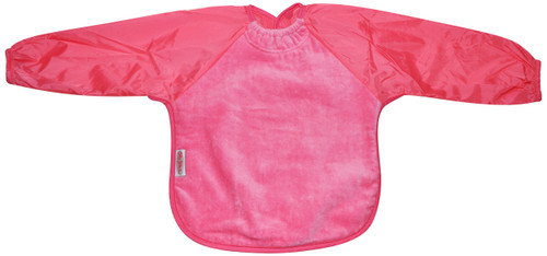 Our Long Sleeve Bib is terrific for self-feeders! The water-resistant nylon sleeves provide extra protection from food wobbling off a spoon or fork. The open back allows babies and kids to stay cool and makes it easy to get on and off.  Front is made from Snuggly velour cotton towelling with the unique snuggle neck guard which sits snug against your baby's neck to stop dribbles and spills. Backing is made with a water-resistant nylon to keep clothing and kids clean and dry!  Small: 6 months – 2 years - dimensions: W28cm x L30cm  Large: 12 months – 3 years – dimensions: W33cm x L36cm