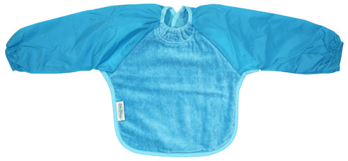 Our Long Sleeve Bib is terrific for self-feeders! The water-resistant nylon sleeves provide extra protection from food wobbling off a spoon or fork. The open back allows babies and kids to stay cool and makes it easy to get on and off.  Front is made from Snuggly velour cotton towelling with the unique snuggle neck guard which sits snug against your baby's neck to stop dribbles and spills. Backing is made with a water-resistant nylon to keep clothing and kids clean and dry!  Small: 6 months – 2 years - dimensions: W28cm x L30cm