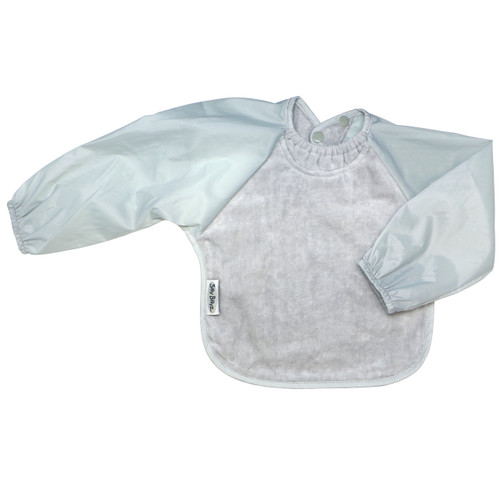 Our Long Sleeve Bib is terrific for self-feeders! The water-resistant nylon sleeves provide extra protection from food wobbling off a spoon or fork. The open back allows babies and kids to stay cool and makes it easy to get on and off.  Front is made from Snuggly velour cotton towelling with the unique snuggle neck guard which sits snug against your baby's neck to stop dribbles and spills. Backing is made with a water-resistant nylon to keep clothing and kids clean and dry!  Small: 6 months – 2 years - dimensions: 28cm x 30cm