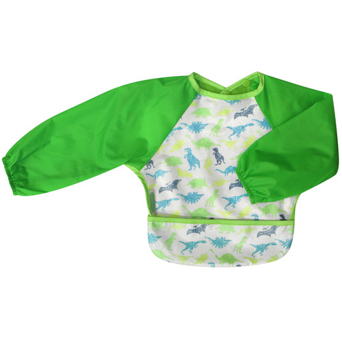 Quick clean ups after mealtimes means more time for play! Our delicious new Wipe Clean collection of long sleeved bibs means you can simply wipe the coated front section of the bib down after every meal and wash it as necessary. Soft nylon sleeves protect clothing while eating or throwing food. Clever food catching pocket makes life easier for Mum and double pop snap closure allows you to pop the bib on in a flash. The sweet design cottons are coated with baby safe PU which is quick to dry once washed.  Small: 6 months – 2 years - dimensions W28 x L30cm