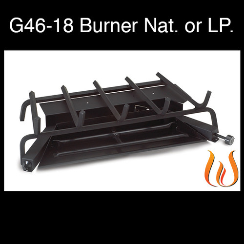 """Peterson Real Fyre 18"""" G46 Burner System with Safety Pilot attached- Liquid Propane (LP) Gas"""