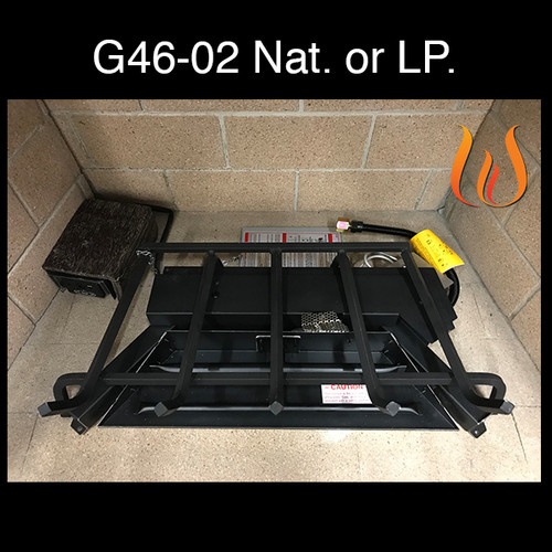 """Peterson Real Fyre 18"""" G46 Burner System With Electronic Pilotless On/Off Remote- Liquid Propane (LP) Gas"""