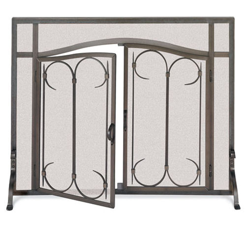 Pilgrim Iron Gate Arched Fireplace Screen Door-Burnished Black (Multi Sizes Available)