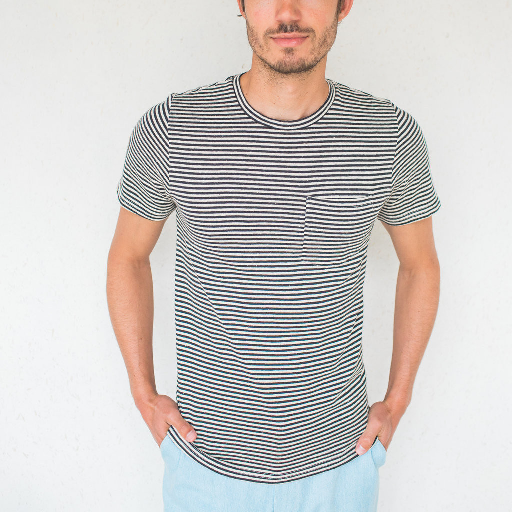 Jungmaven : Baja Striped Pocket Tee Black