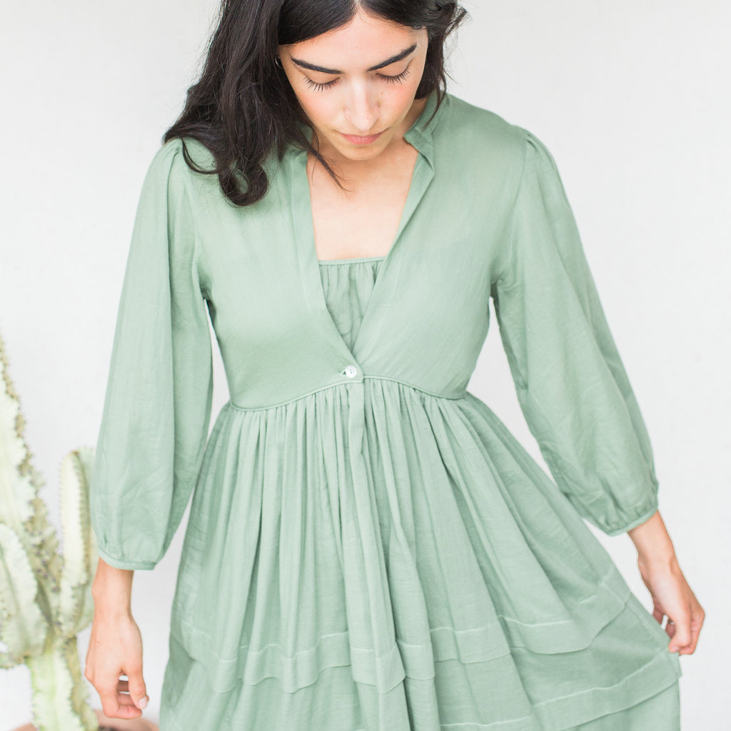 Loup Charmant : Scallop Nova Dress in Faded Fatigue