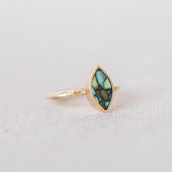 Young In The Mountain : Vertical Peacock Turquoise Marquis Ring