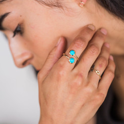 Maya Brenner : Double Turquoise Ring