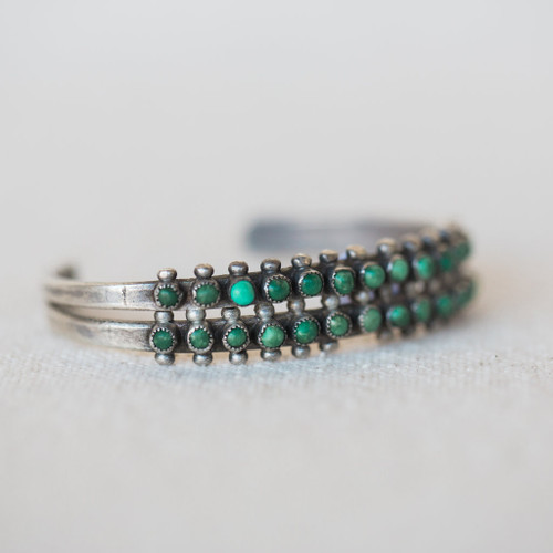 Navajo : Double Row Turquoise Cuff