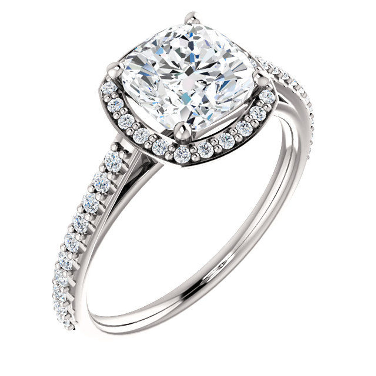 White Gold Cushion Cut Halo Engagement Ring
