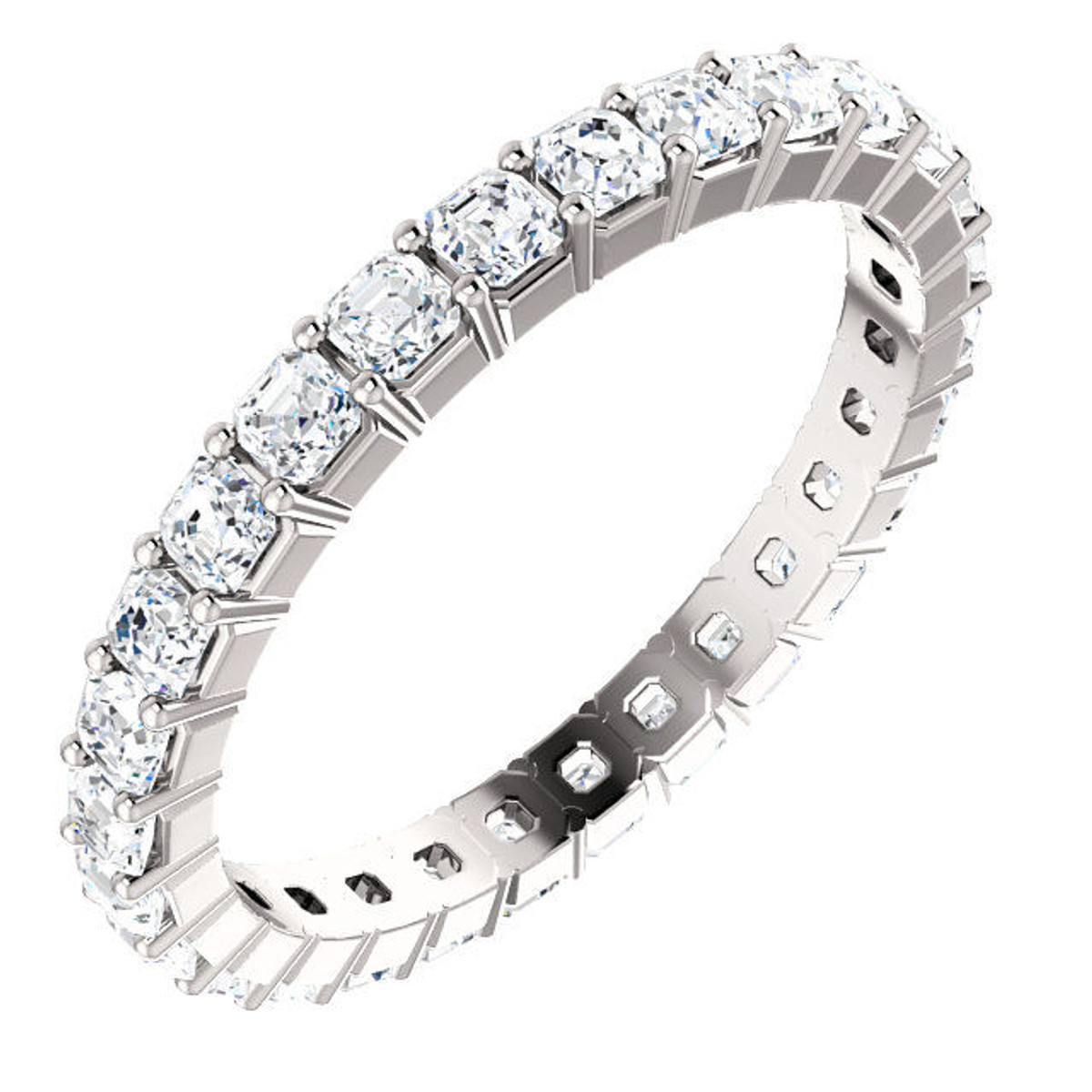 Platinum Asscher Cut Diamond Eternity Ring
