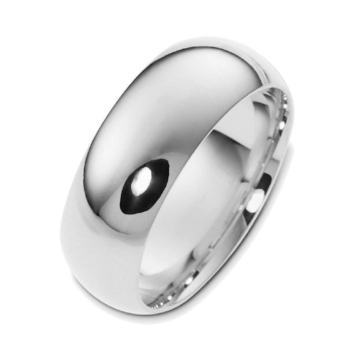 8.0 mm Wide Plain Comfort Fit Wedding Ring
