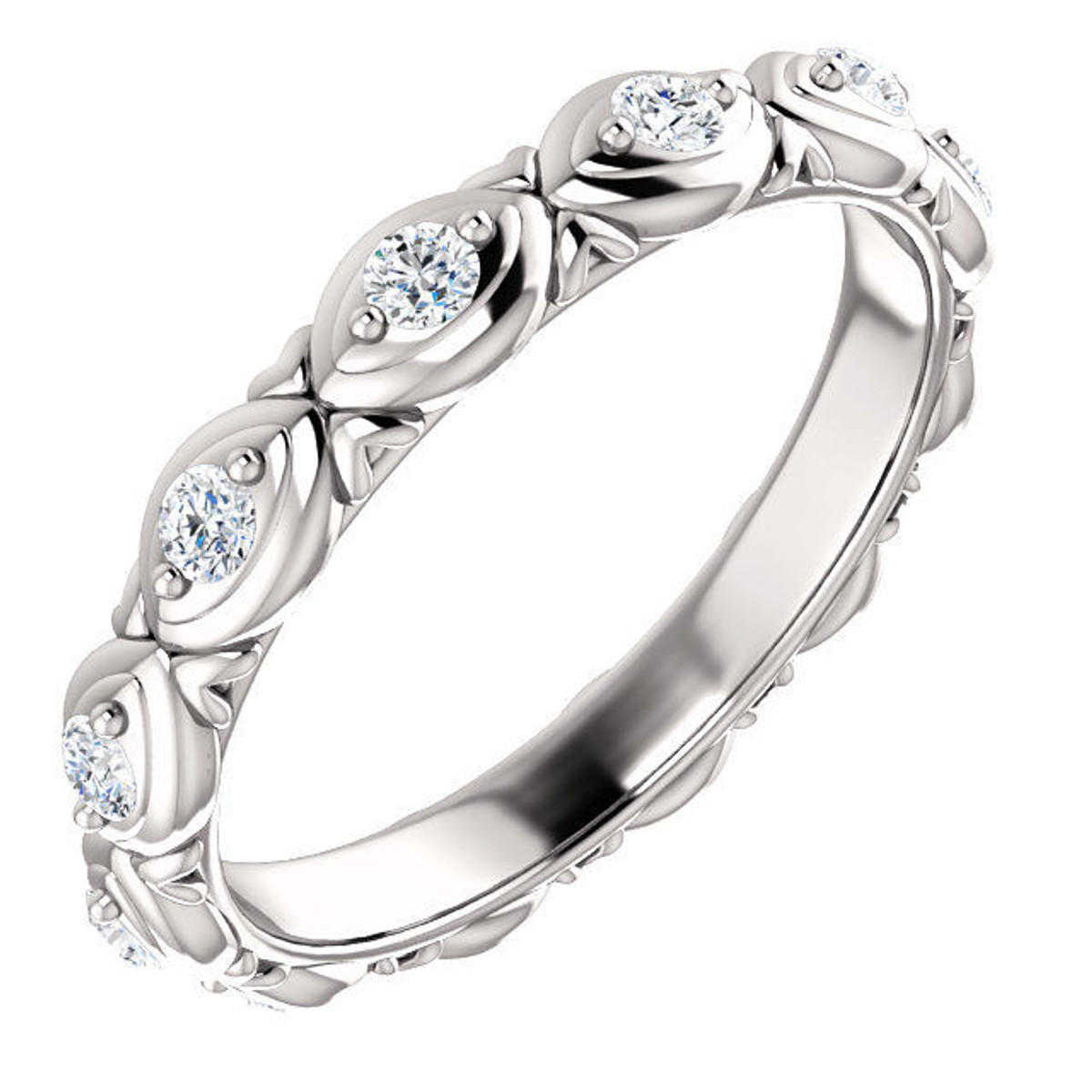 14Kt White Gold Designed Diamond Eternity Ring