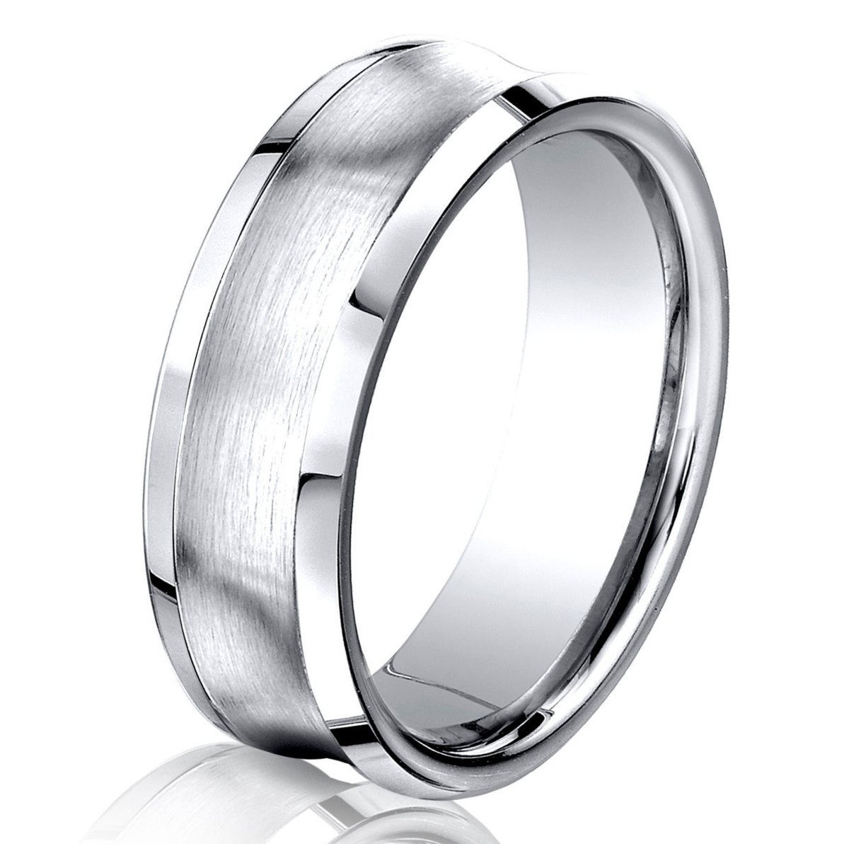 comfort cobalt chrome wedding fit ridge ring dome rings semi bridal product brushed finish edge anniversary band