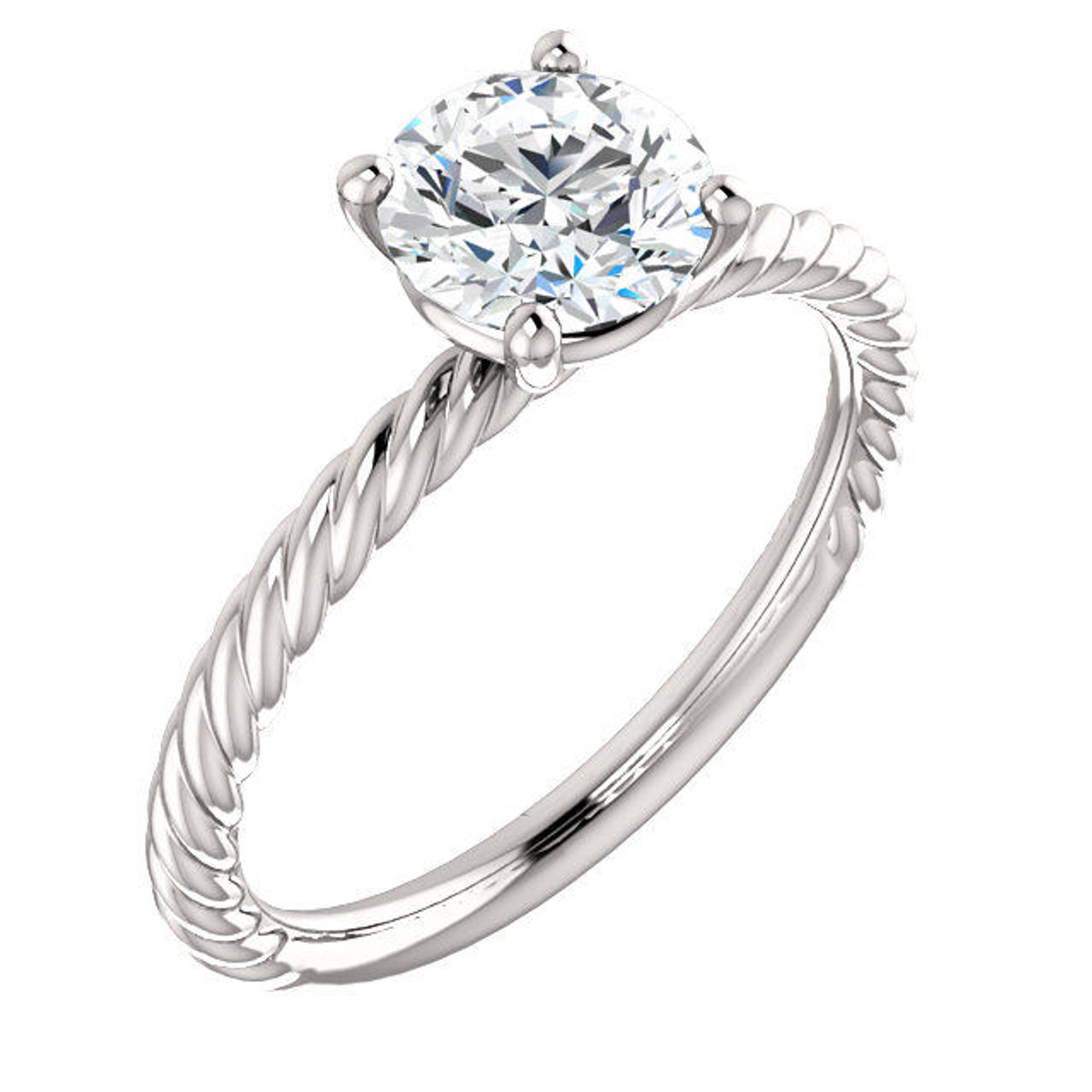 14Kt White Gold Rope Engagement Ring
