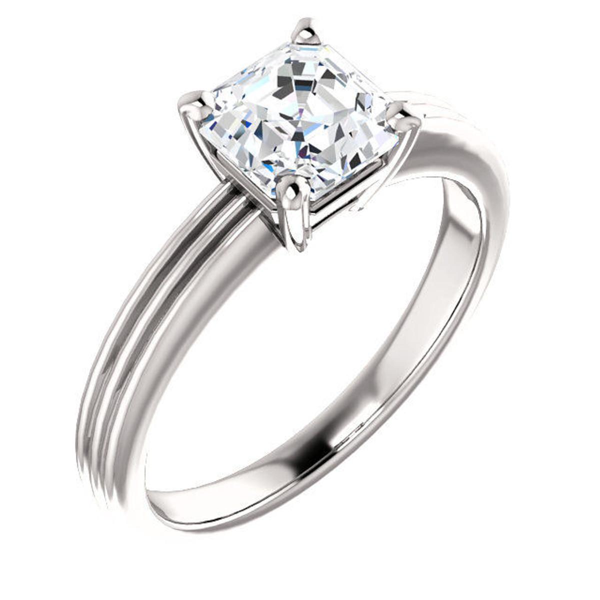 14Kt White Gold Solitaire Asscher Cut Diamond Engagement Ring
