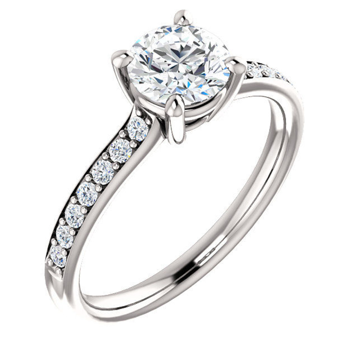 14Kt White Gold Classic Diamond Engagement Ring