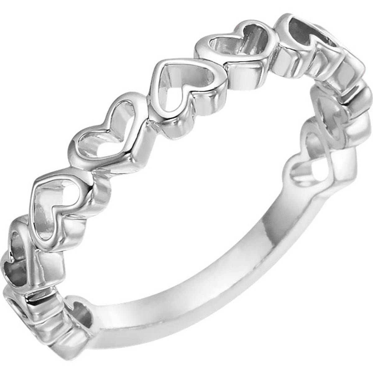 White Gold Heart Stackable Ring