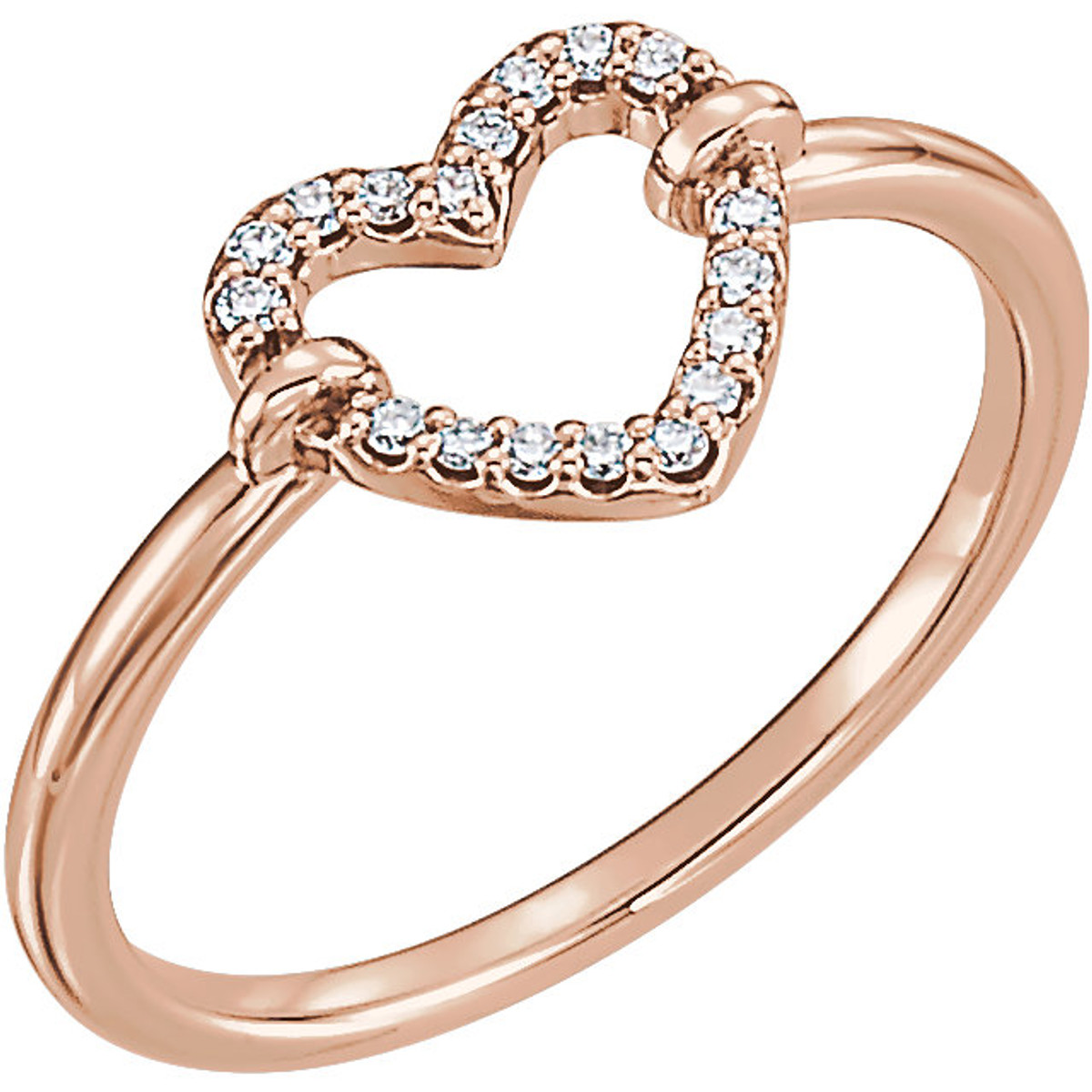 Rose Gold Petite Diamond Heart Ring