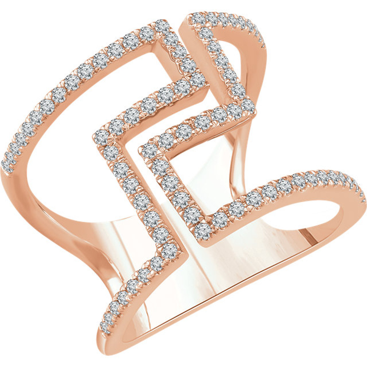 Rose Gold 0.50 Ct Tw Diamond Geometric Ring