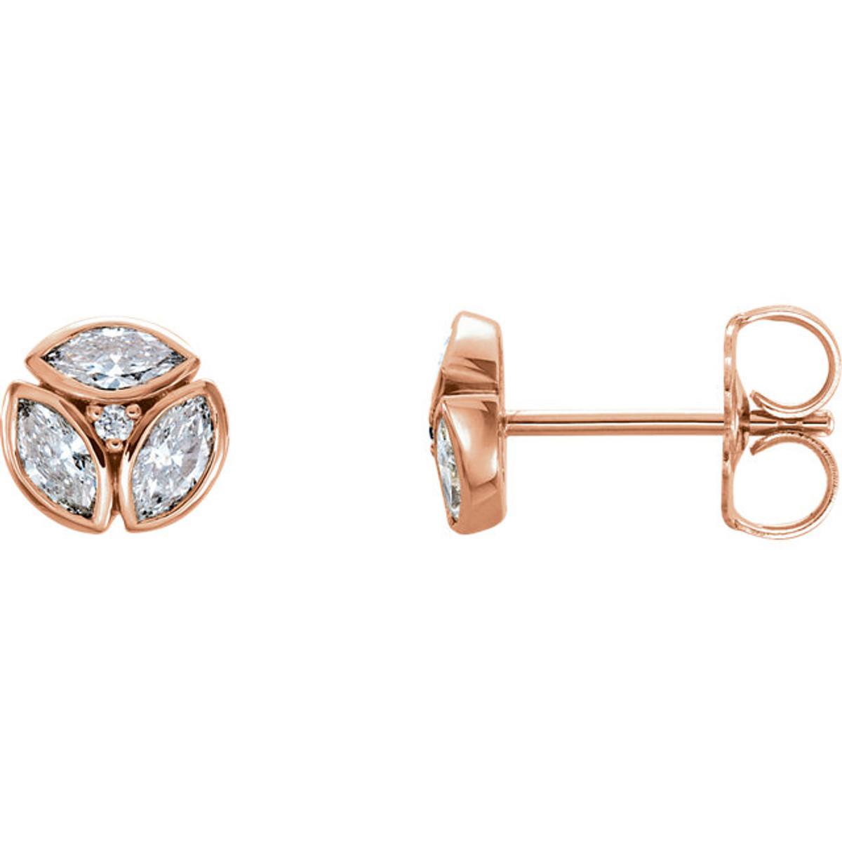 Rose Gold Diamond Petite Marquise Earrings
