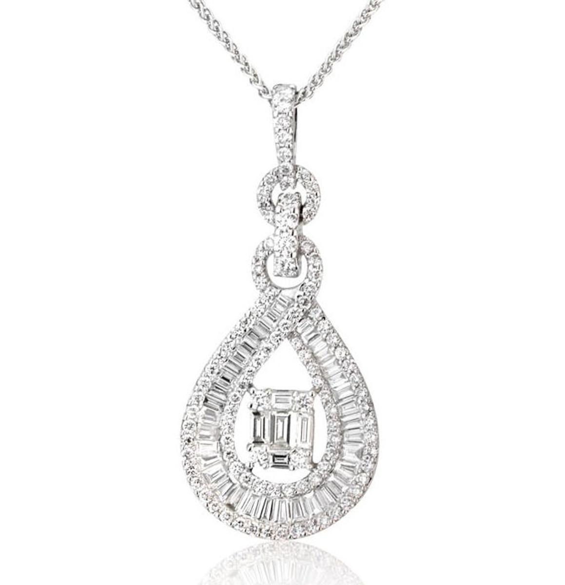 1.28 Ct Round & Baguette Diamond Pendant