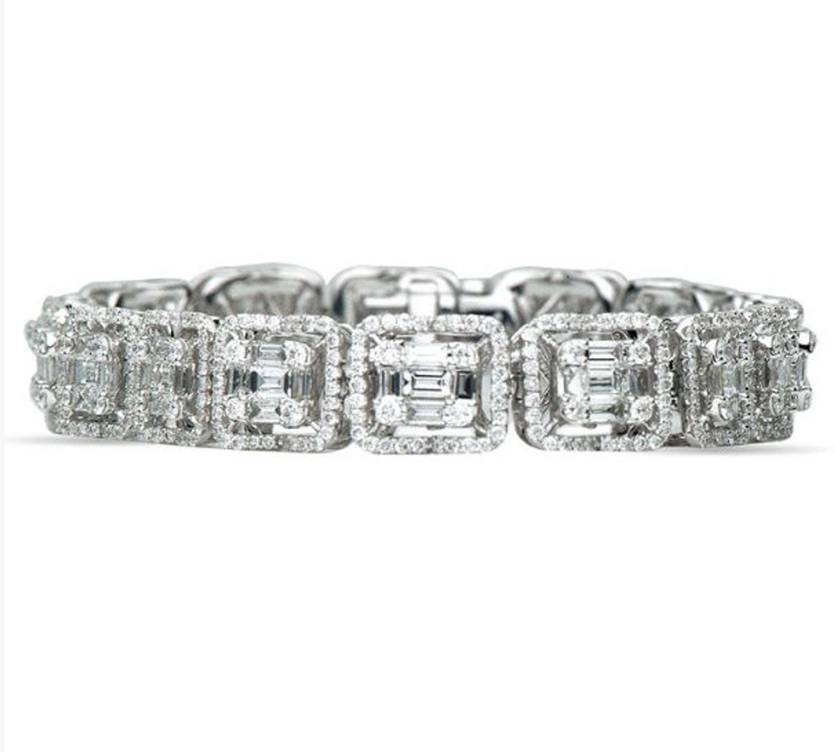 7.05 Ct Tw Round & Baguette Diamond Bracelet