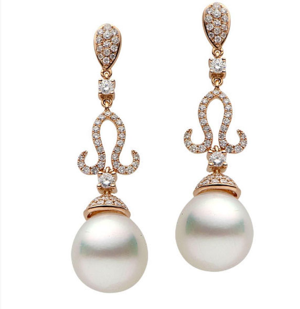Pearl & Diamond Dangle Earrings 1.04 Ct Tw