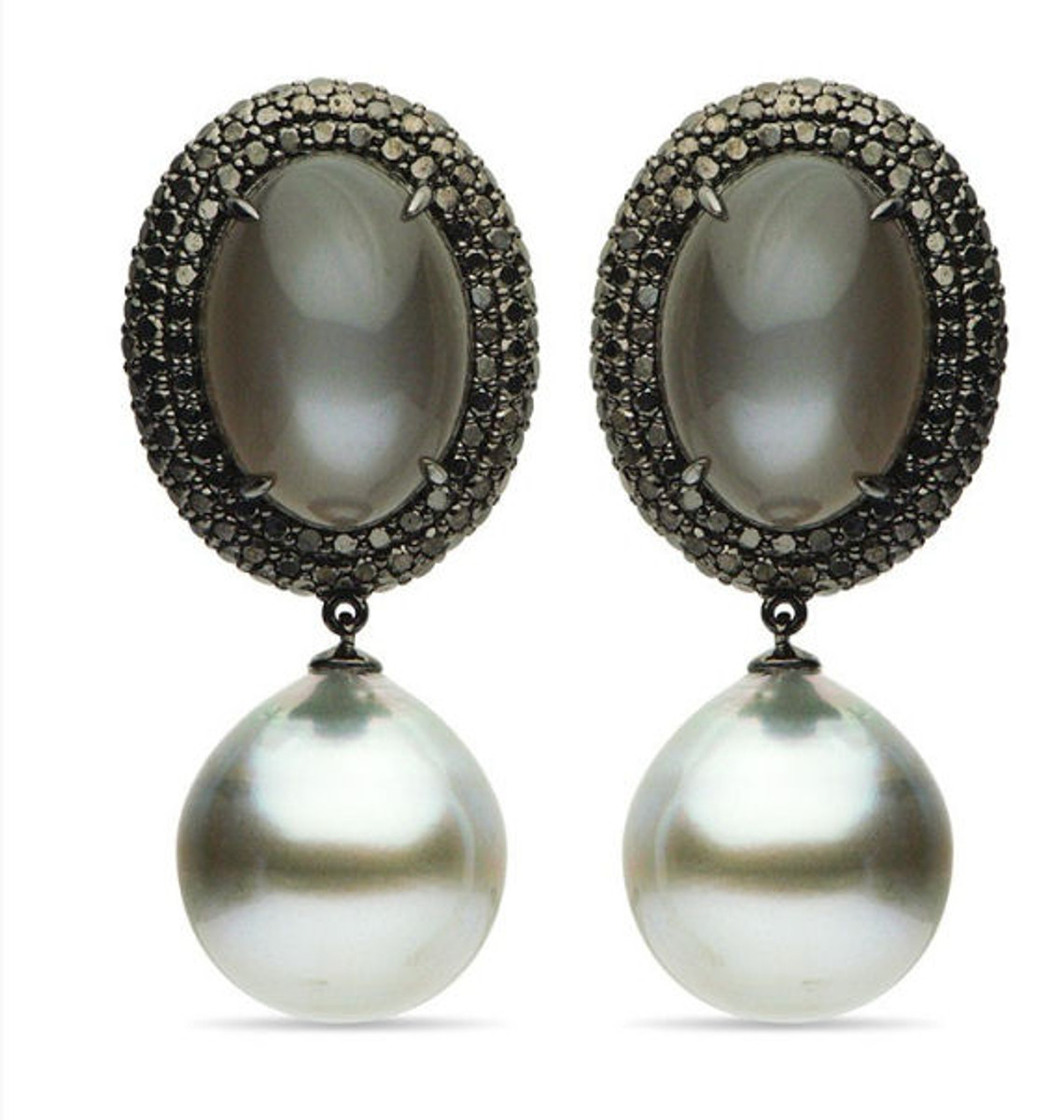 Moonstone, Tahitian Pearls, & Diamond Drop Earrings