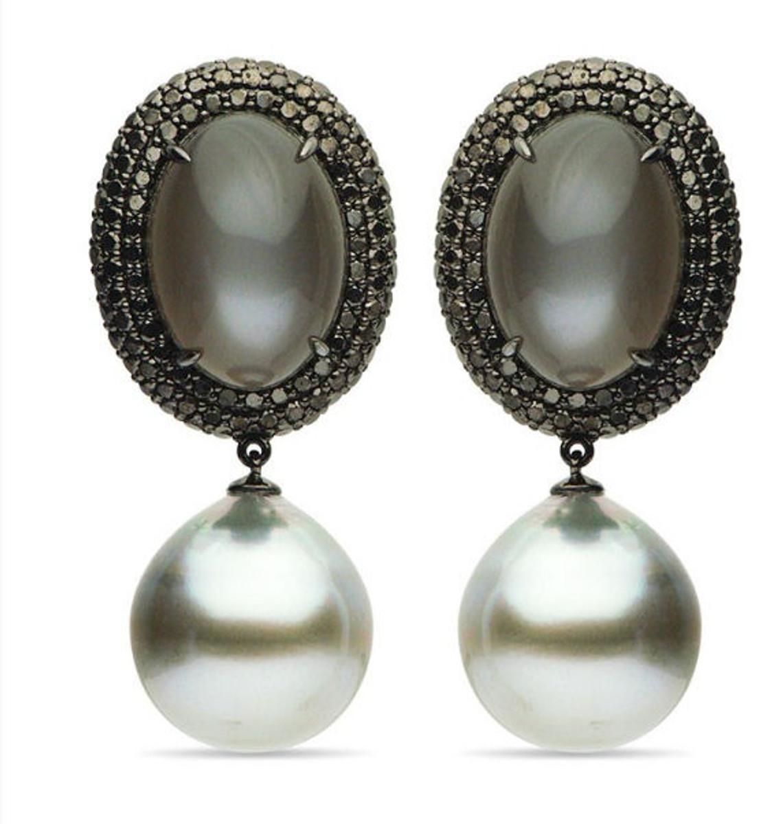 Moonstone, Tahitian Pearls, & Diamond Drop Earrings