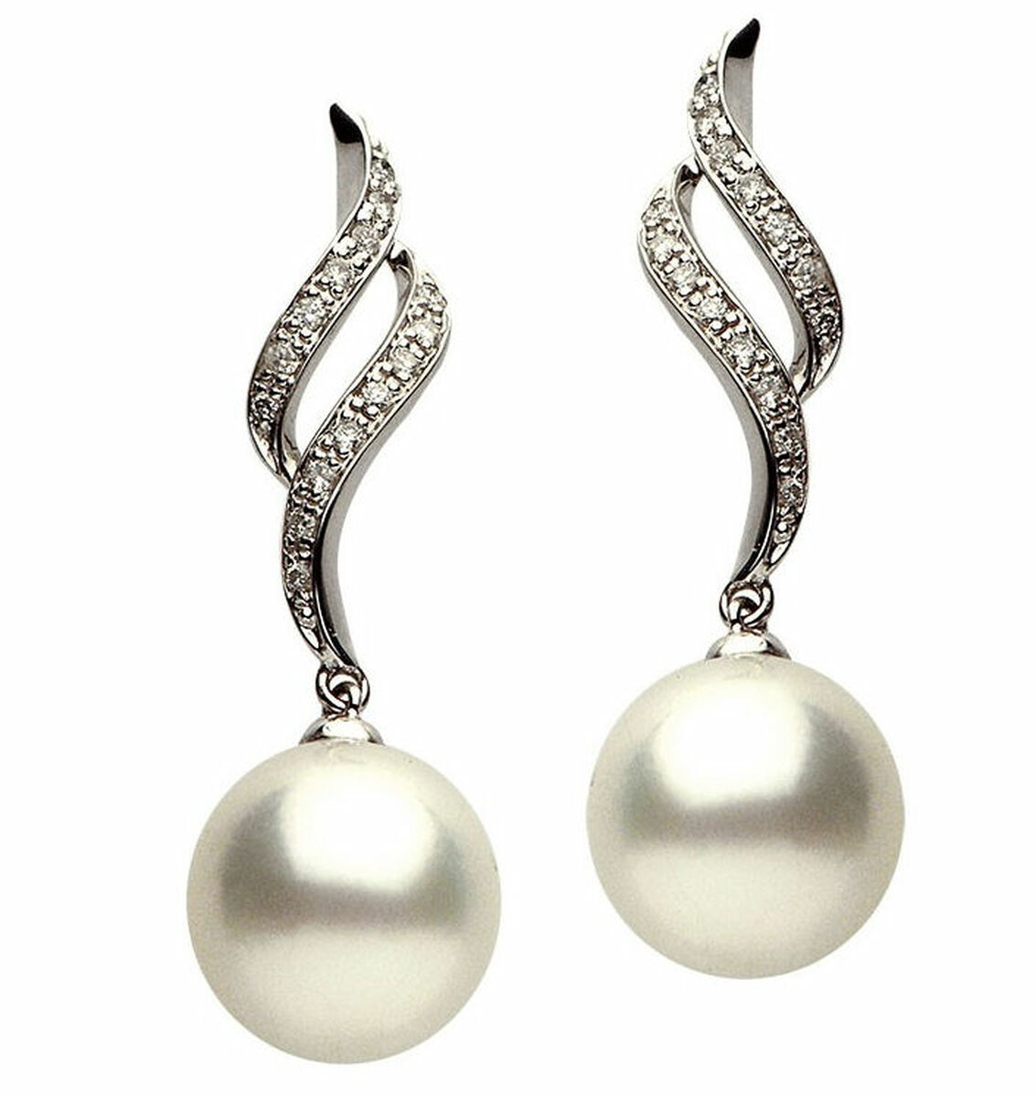 0.23Ct Tw Diamond & South Sea Cultured Pearl Earrings