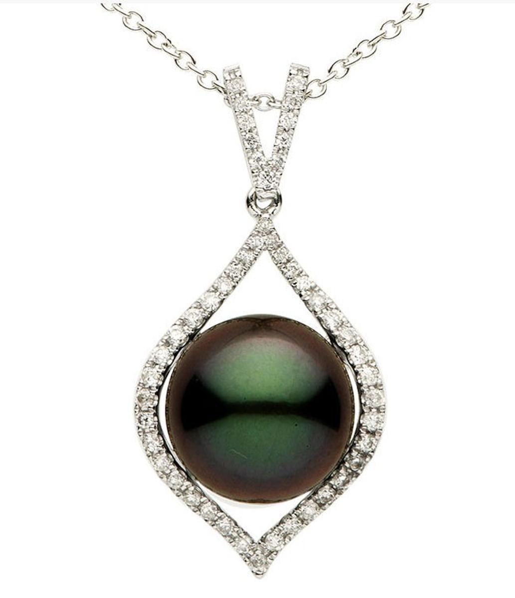 12MM Tahitian Pearl & Diamond Pendant