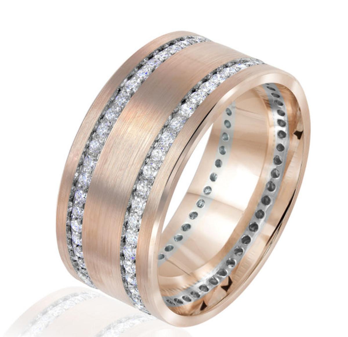 0.84 Ct Tw Rose & White Gold Diamond Wedding Ring