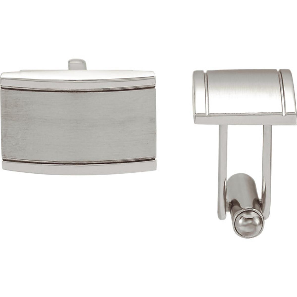 Stainless steel coqueture rectangular cuff links