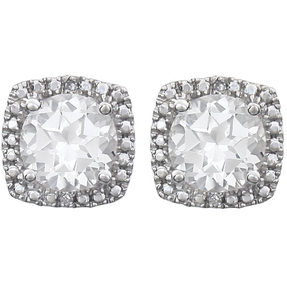 White Sapphire & Diamond Earrings