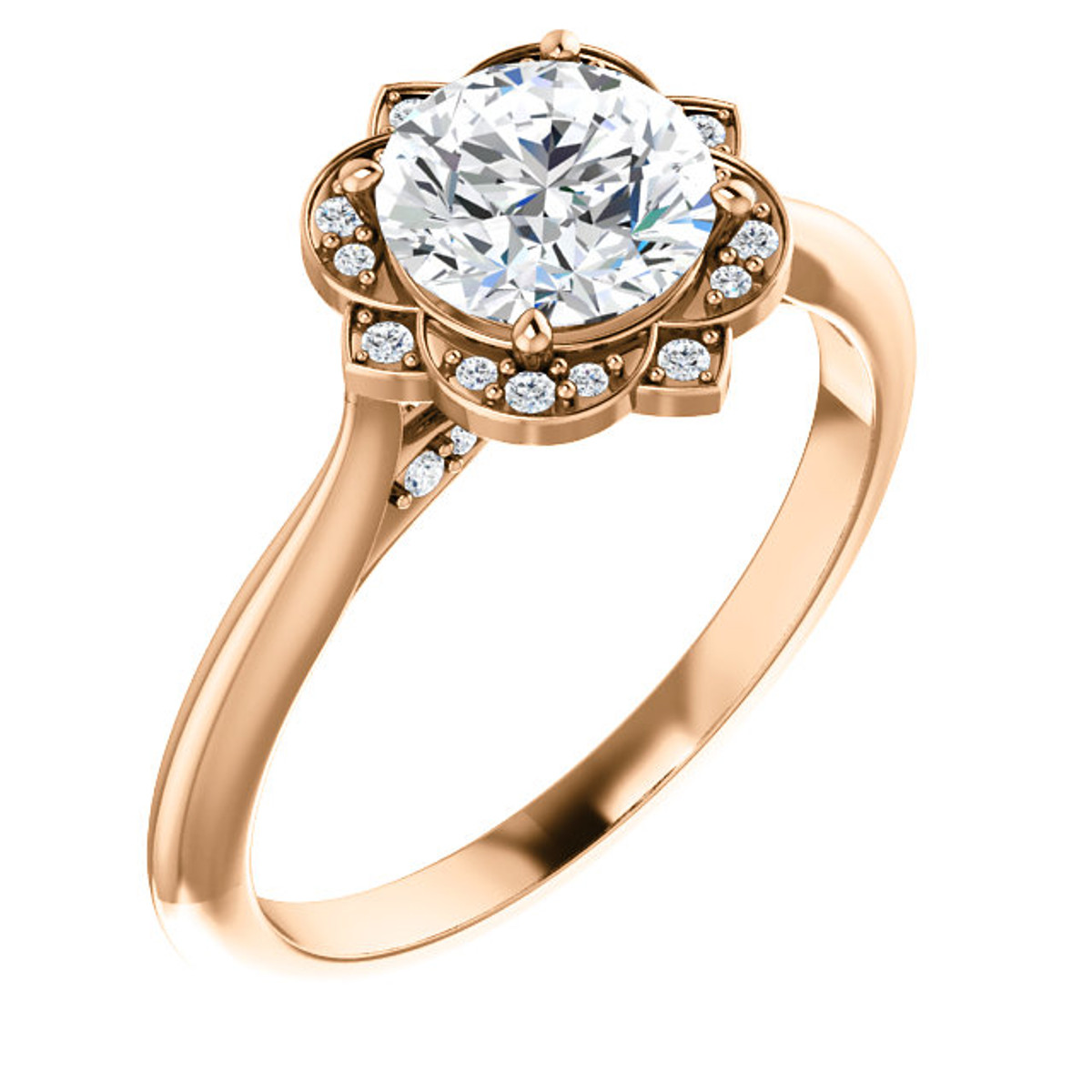 Rose Gold Petal Diamond Engagement Ring