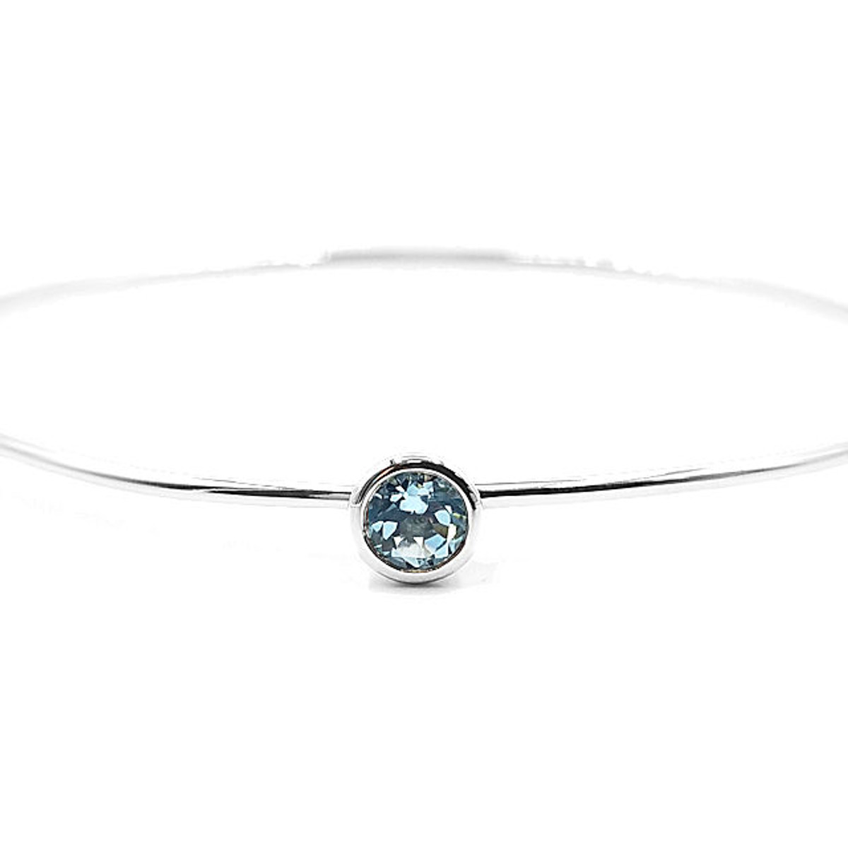 Sterling silver sky blue topaz bangle