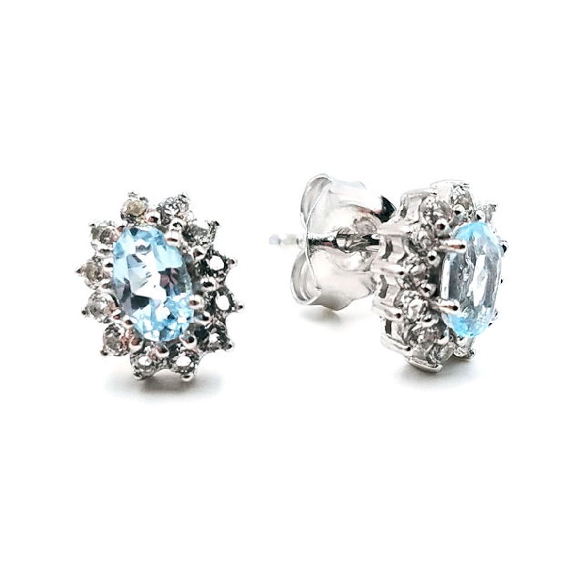 Sky blue topaz halo earrings