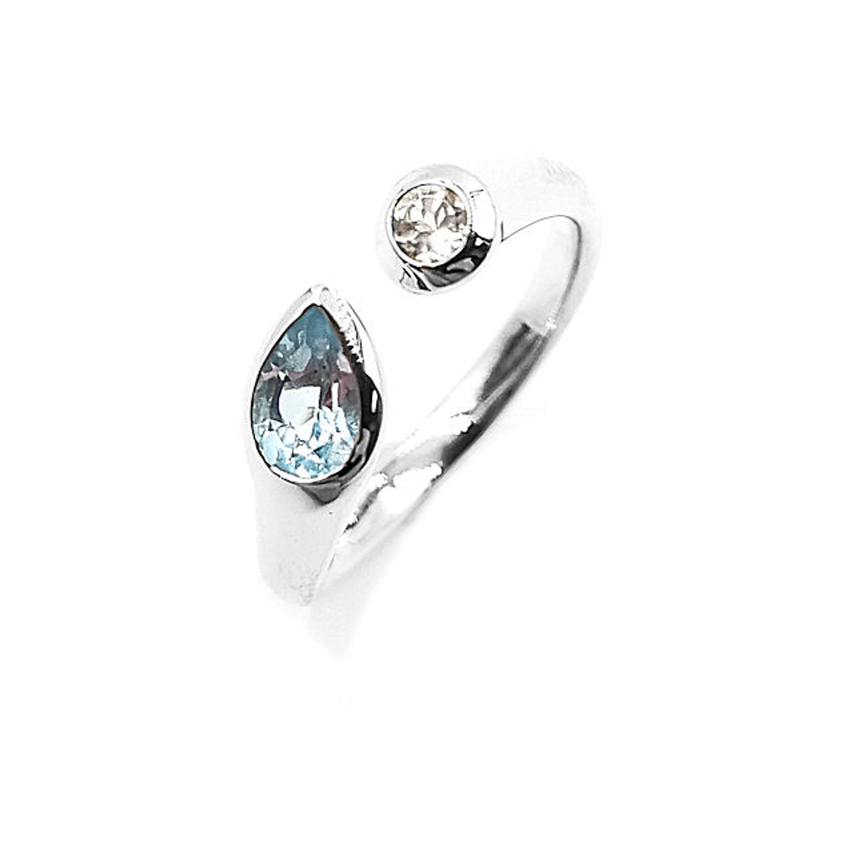 Sterling Silver Sky Blue & White Topaz Ring
