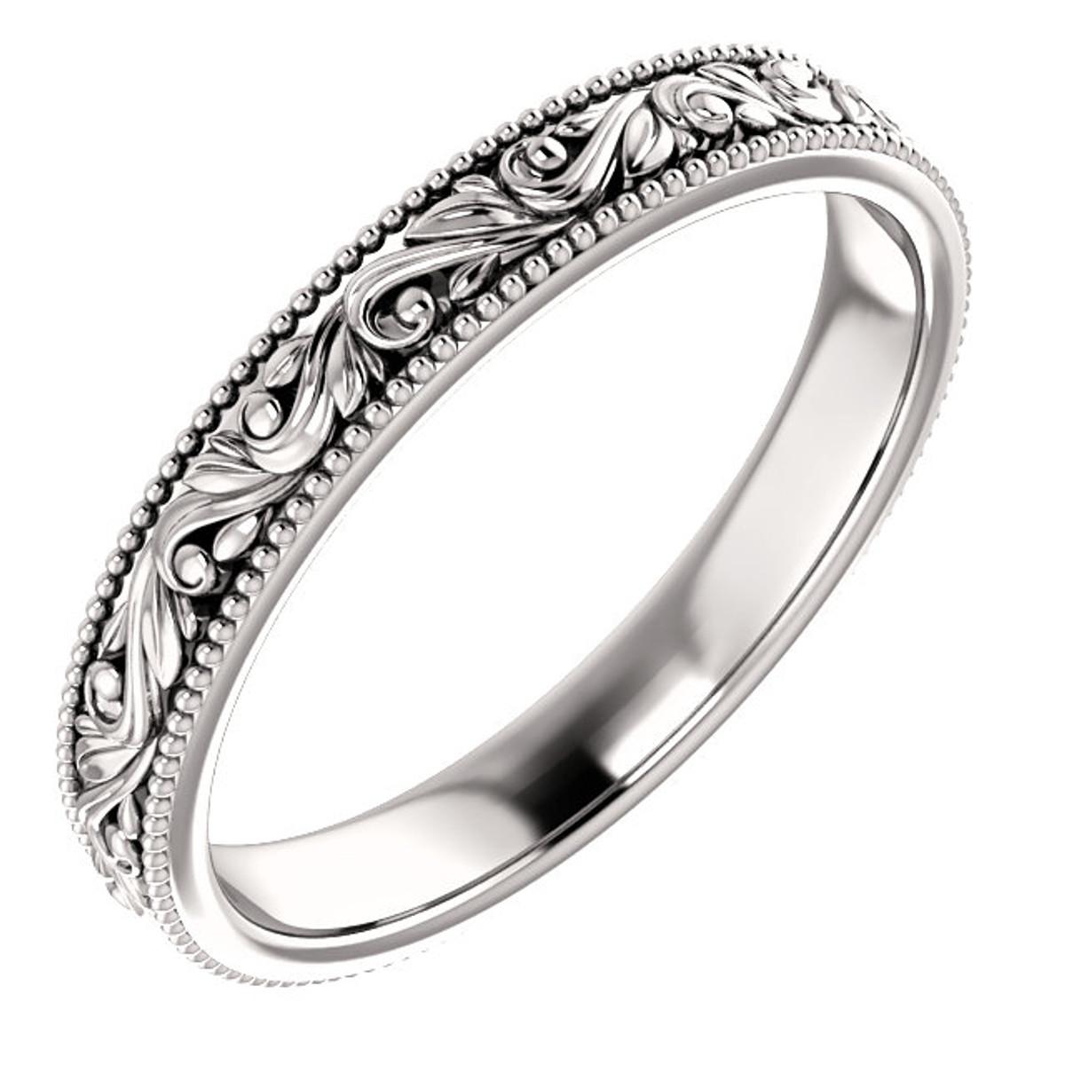 White Gold Engraved Wedding RIng