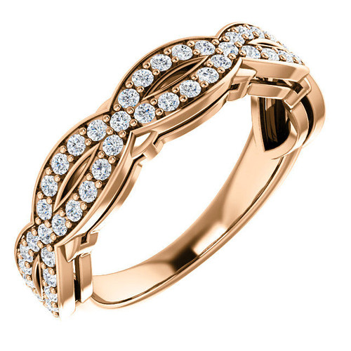 Rose Gold Twisted Diamond Anniversary Ring